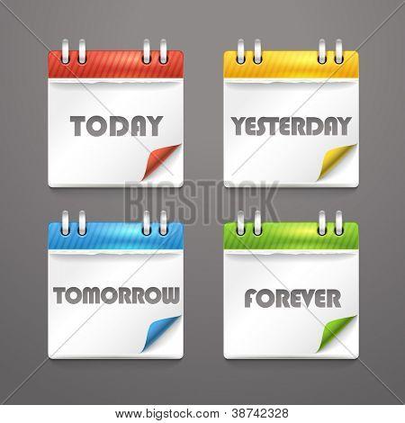 Papier-Tagebuch-Ikonen mit gebogen Farbe Ecken