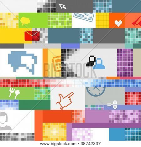 Abstract pixel art color background