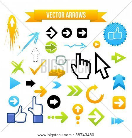 Collection of Vector Arrows. Web design illustration.