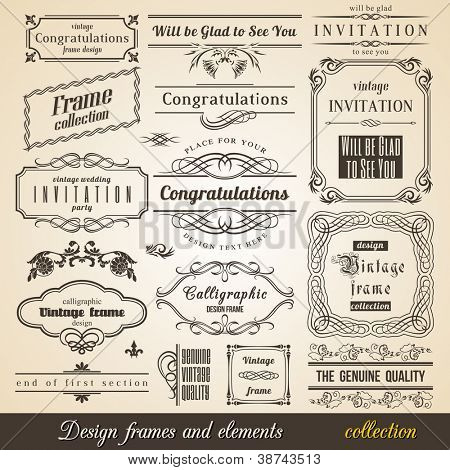 Flourish Border Corner and Frame collection. Vector Card Invitation text