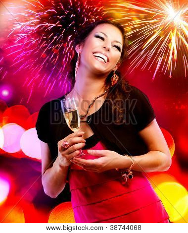 Celebrating Woman. Holiday People. Beautiful Girl with Holiday Makeup Holding Glass of Champagne. Happy and Laughing