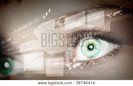Eye viewing digital information represented by circles and signs
