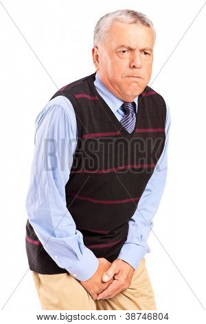 A senior man with bladder control problem isolated on white background