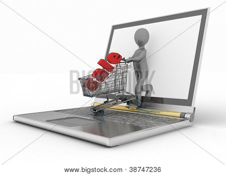 3d man and laptop online shopping on white background