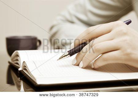 Weibliche Hand in ein Notizbuch schreiben