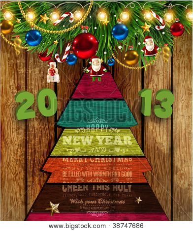 Set of Christmas elements: balls, Santa, snowman, fir tree branches, garland, stars, sweet and wooden fur tree. Wood background, 2013 3d vector letters for Xmas invitation design.