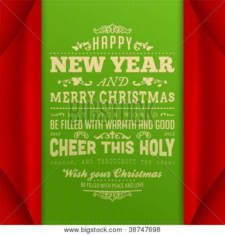 Papel rizado esquina por invitación de la Navidad. Ilustración del vector. Feliz Navidad y feliz nuevo sí