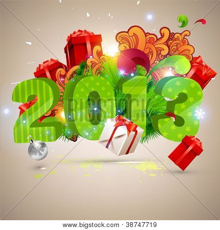 Big 2013 3d vector letters for Christmas and New Year design. Balls, gifts, ornaments - set of elements for Xmas design.