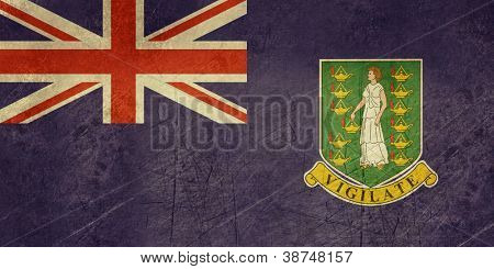 Grunge sovereign state flag of dependent country of British Virgin Islands in official colors.