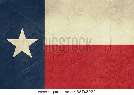 Grunge Texas state flag of America, isolated on white background.