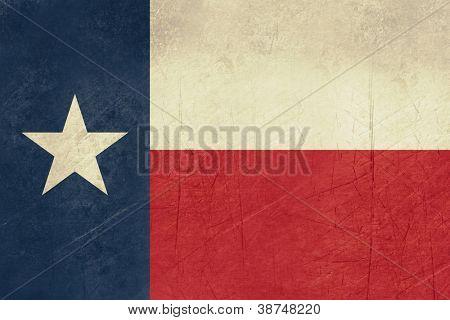 Bandera de estado de Texas de grunge de América, aislado sobre fondo blanco.