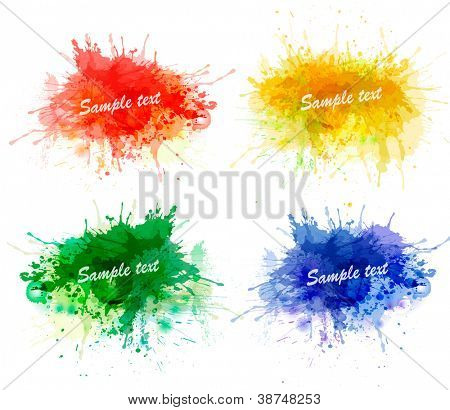 Collection of colorful abstract watercolor backgrounds. Vector.