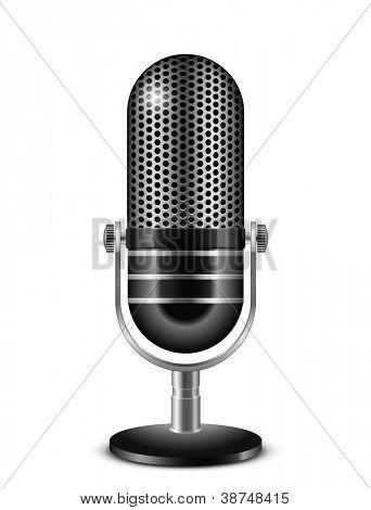 Ilustración de vector de micrófono retro