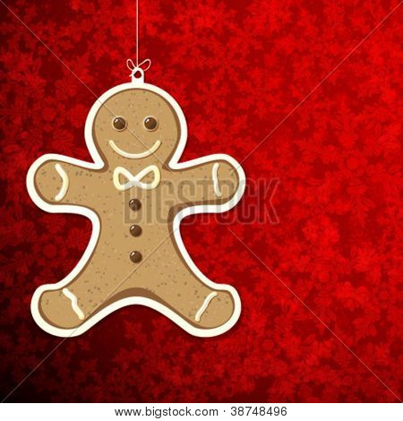 Christmas background with gingerbread man.