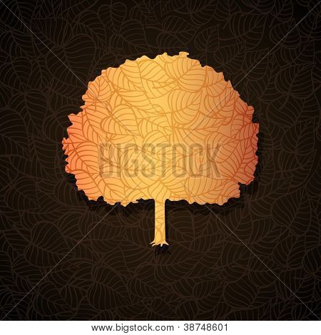 Autumn tree banner made of fancy paper, vector eps8 illustration