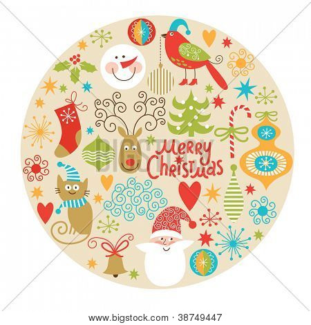 Set of Christmas and New Year elements