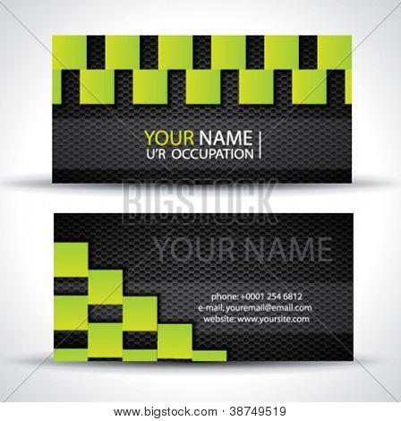Modern business card - green rectangles