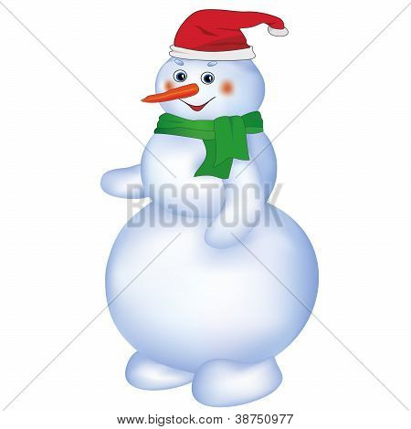 Smiling Snowman Isolated On White Background