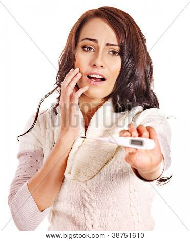 Young woman having  flue taking thermometer. Isolated.