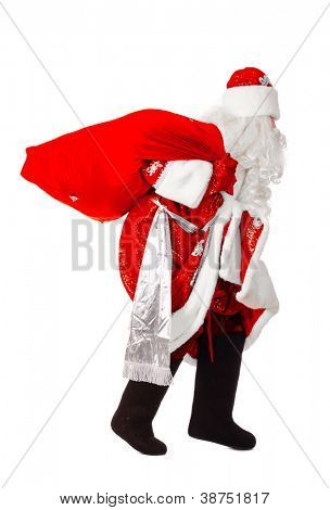 santa claus is slinking, isolated on white