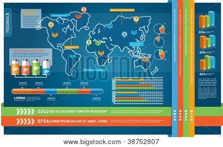 Set of Infographic Elements. World Map and Information Graphics