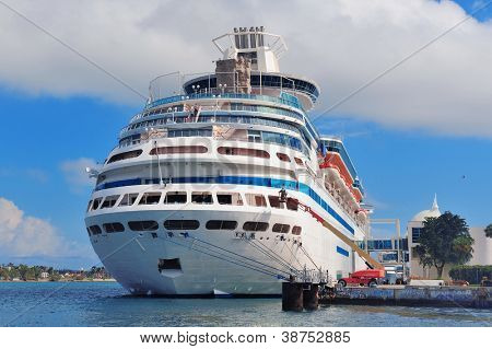 MIAMI, FL - FEB 10: Cruise Ship at Miami Port with blue clear sky on February 10, 2012 in Miami, Florida. The port is the 11th largest cargo port in the US.