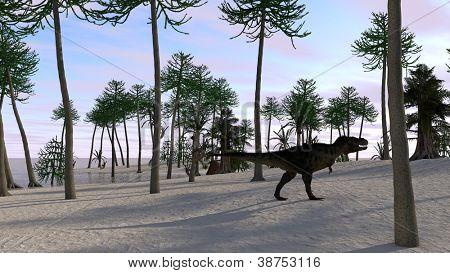 tyranosaurus in jungle