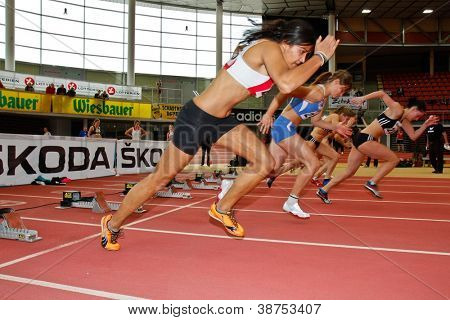 LINZ, AUSTRIA - FEBRUARY 25: Savannah Mapalagama (#245, Austria) places sixth in the women's 60 m sprint event in Linz, Austria on February 25, 2012.