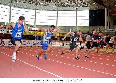 LINZ, AUSTRIA - FEBRUARY 25: Lukas Reiter (#102, Austria) places fourth in the men's 60m sprint event in Linz, Austria on February 25, 2012.