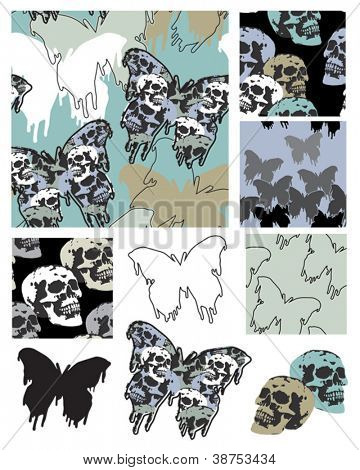 Gothic Style Butterfly and Skull Seamless Patterns and Icons.