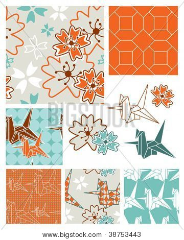 Oriental Style Origami and Floral Seamless Patterns.