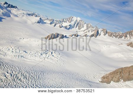 Aerial view of winter landscape at Mountain Cook National Park New Zealand