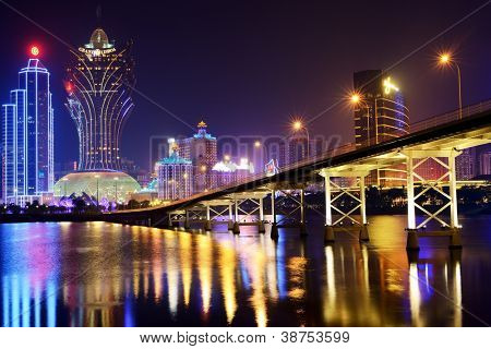 MACAU - OCTOBER 12: Skyline of resort casinoas at Nam Van Lake October 12, 2012 in Macau, China. The city maintains the world's highest gambling revenue with over 20 million tourists annually.
