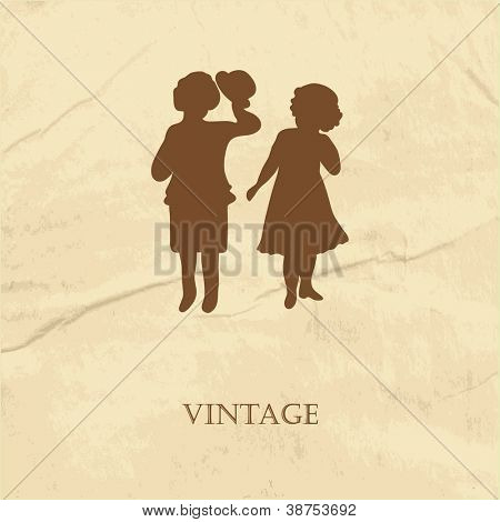 Retro card  with silhouette of two cute babies on the grunge paper background