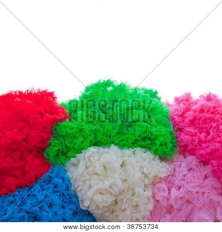 coloured fabric textures for background image with copy space