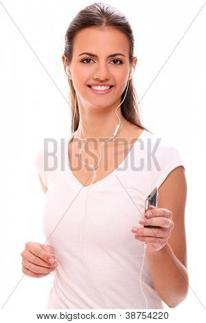 Portrait of beautiful running woman with headphones