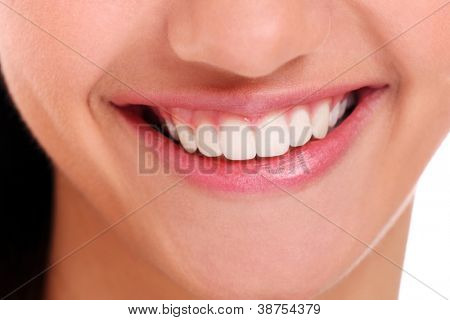 Closeup of beautiful woman smile with white teeth