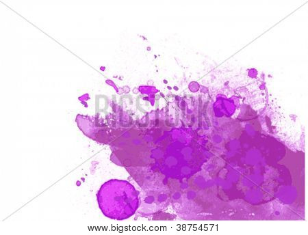 Purple abstract paint splat - vector with white space for design