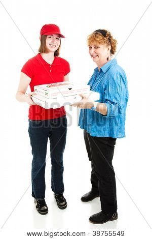 Teenage delivery girl brings pizza to a customer.  Full body isolated on white.