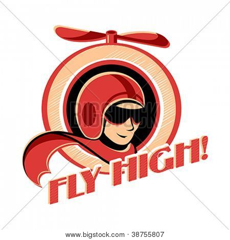 Fly high! retro aviator sticker with propeller