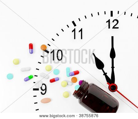 Clock and pills come out from a medicine bottle