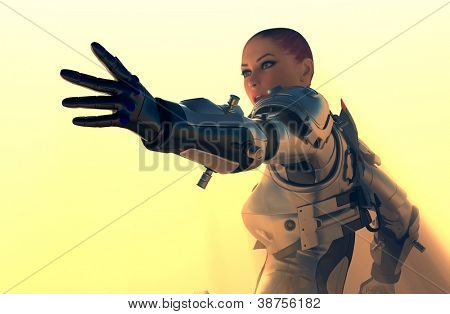 Cyborg girl on a yellow background.