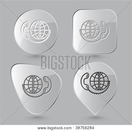 Global communication. Glass buttons. Raster illustration.