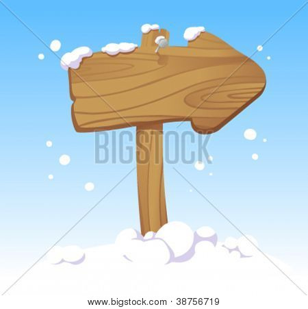 Wooden pointer board against of a winter landscape. Christmas illustration.