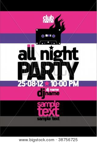All Night Party design template with place for text.