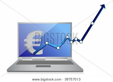 Euro Currency Graph And Laptop