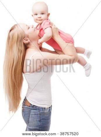 young mother playing with her baby, isolated on white background (focus on the mother)