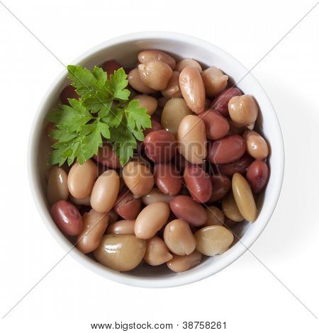 Three bean mix in small bowl, isolated on white.  Overhead view.