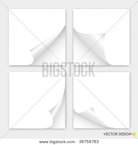Collection of curled corners white papers, Vector illustration.