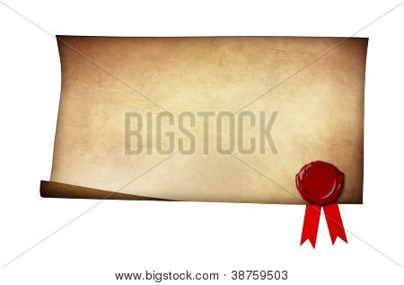 Grunge paper with wax seal and ribbon isolated on white background